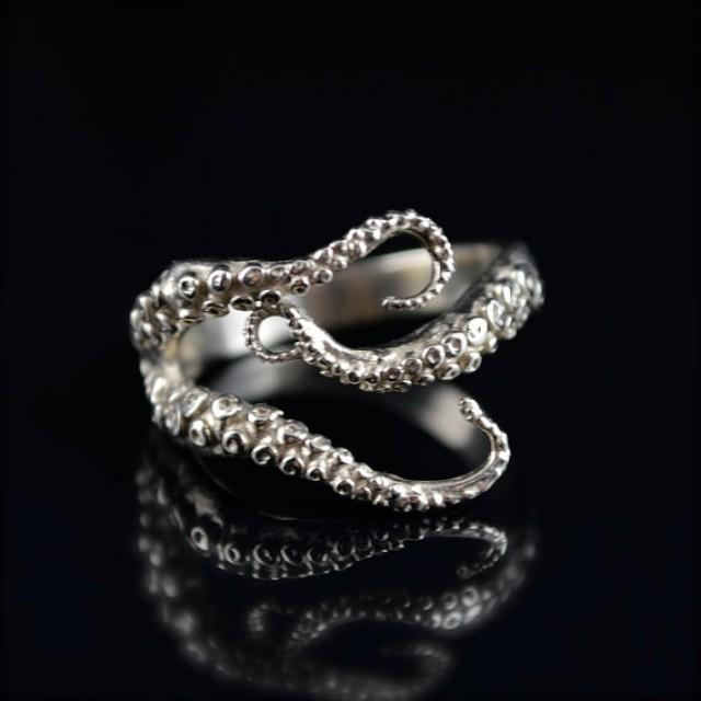 HOLIDAY SALE Seductive Tentacle Ring 14K White Gold