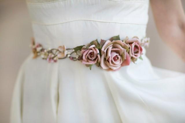Bridal Belt, Bridal Belt Sash, Pink Wedding Belt, Rustic
