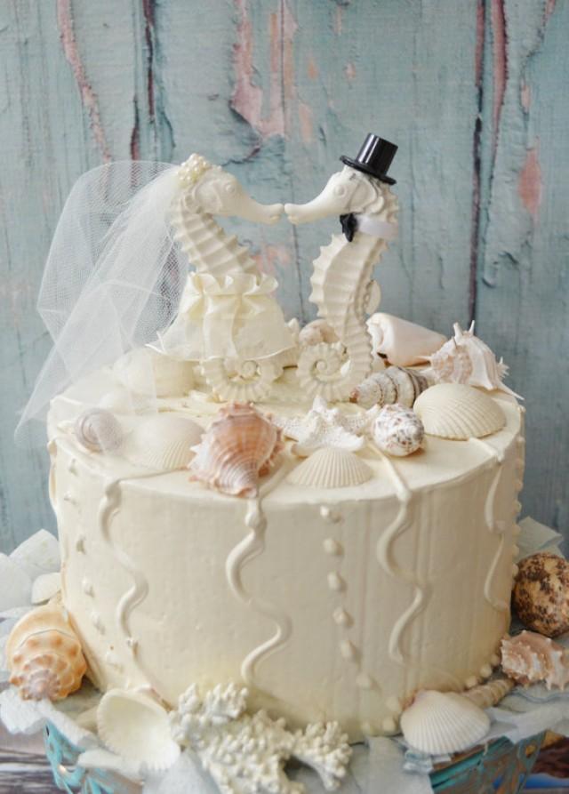 Seahorse Wedding Cake Topper Ivory Seahorse Beach Wedding