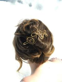 Gold Hair Brooch, Bridal Hair Brooch, Cross, Hair Clip ...