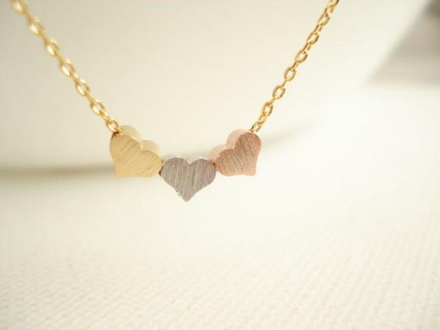 Tiny Three Hearts Necklace...Minimalist 3 Tone, Everyday