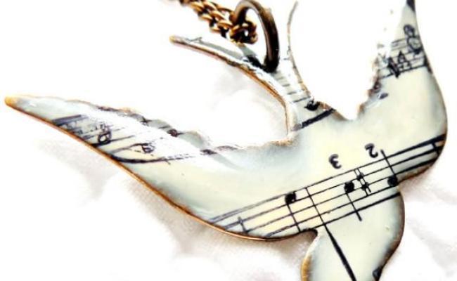 Unique Necklace Song Bird Necklace Music Note Necklace