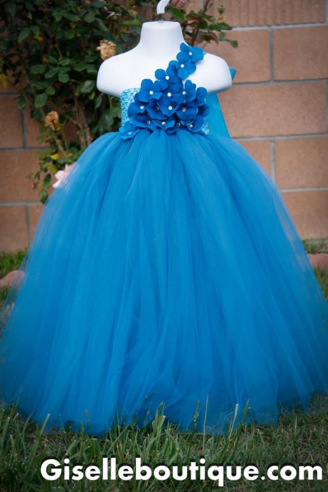 Flower Girl Dress Teal Tutu Dress Wedding Birthday