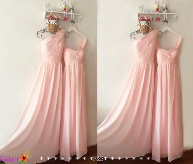 Light Pink Bridesmaid Dress,Long Chiffon Prom Dress