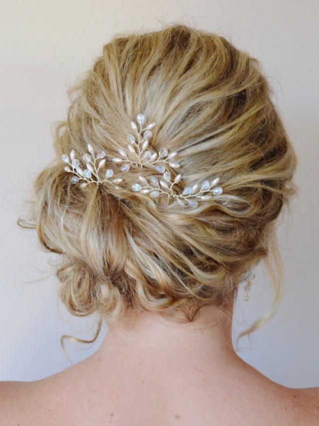 Bridal Hair Accessories, Bridal Hair Pins, Pearl Crystal