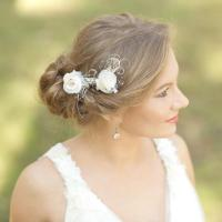 Burlap Wedding Hair Piece Rustic Wedding Hairpiece Vintage