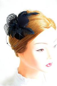 Black Feather Fascinator Wedding Headpiece Bridesmaid