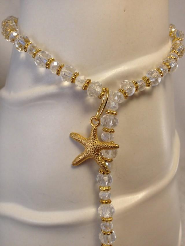 Gold Starfish Barefoot Sandals Gold And Crystal Beach