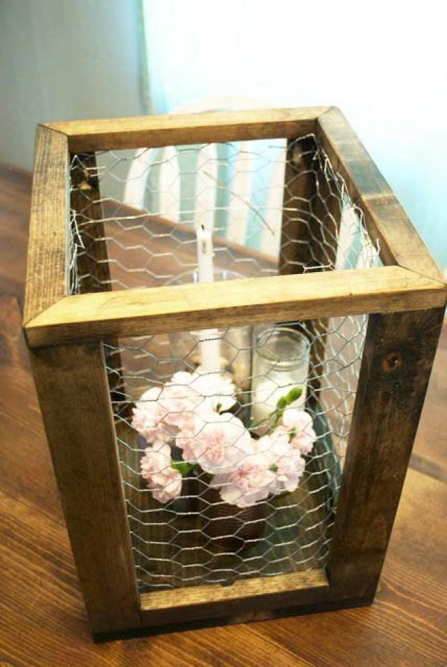 Chicken Wire Framed Box Rustic Home Decor Rustic Wedding Aisle