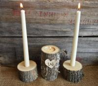 Country BROWN WOODEN Unity Candle Holder Set