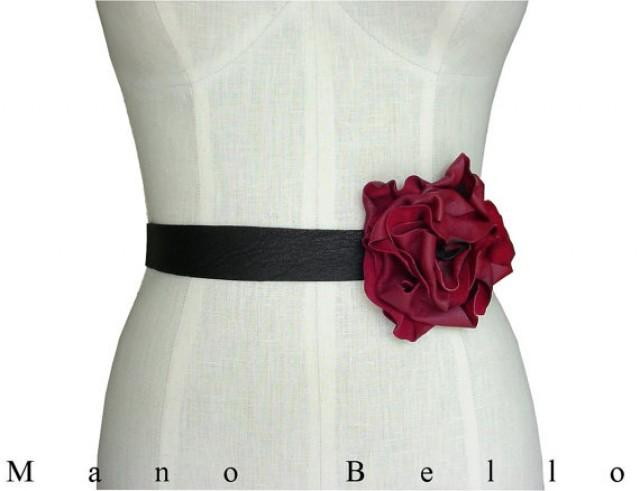 Leather Flower Belt Bridal Belt Wedding Dress Belt Tie