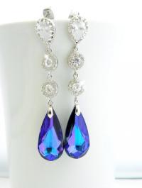 Long Purple Wedding Earrings, Heliotrope Swarovski ...