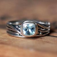 Rustic Engagement Ring Set - Aquamarine Gemstone Ring ...
