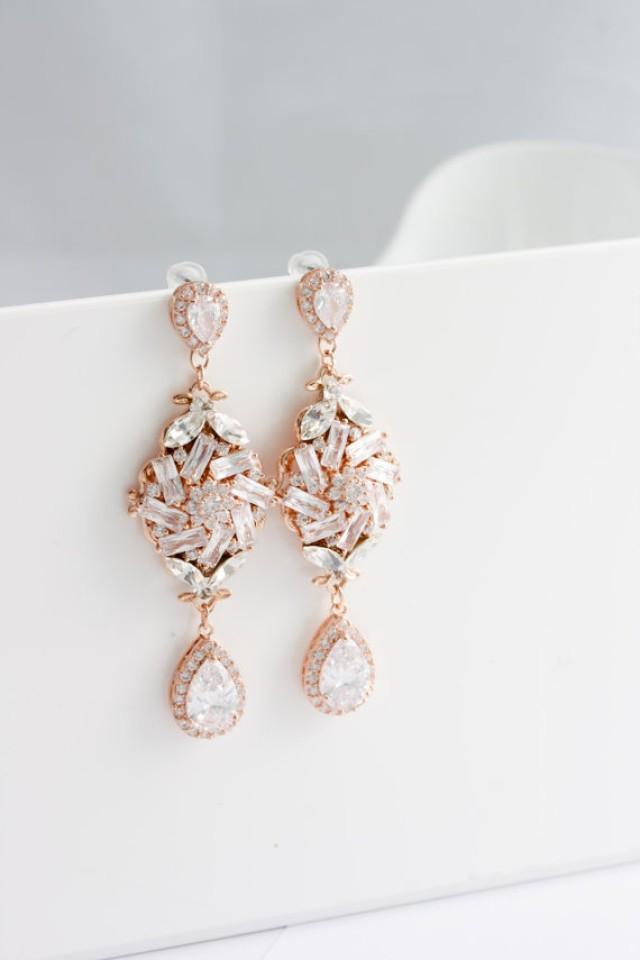 Bridal Earrings Rose Gold Crystal Earrings Crystal Wedding