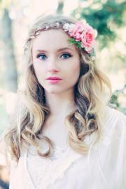 pink rose floral crown bridal