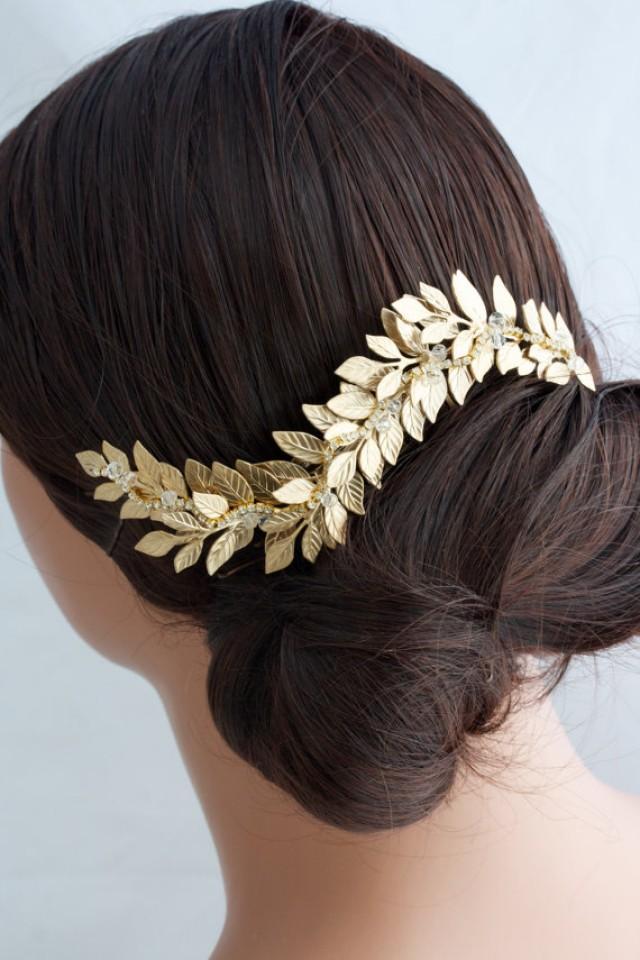 Grecian Head Piece Gold Leaf Wedding Hair Comb Matt Gold