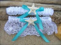 Beach Wedding Starfish Garter Set,SOMETHING AQUA BLUE
