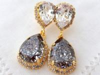 Crystal Black Patine And White Clear Chandelier Earrings