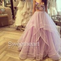 2 Pieces Ruffled Embroidery Tulle Long Prom Dresses ...