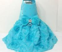 Turquoise Rose Dog Harness Dress XX Small Dog Dress To 4X