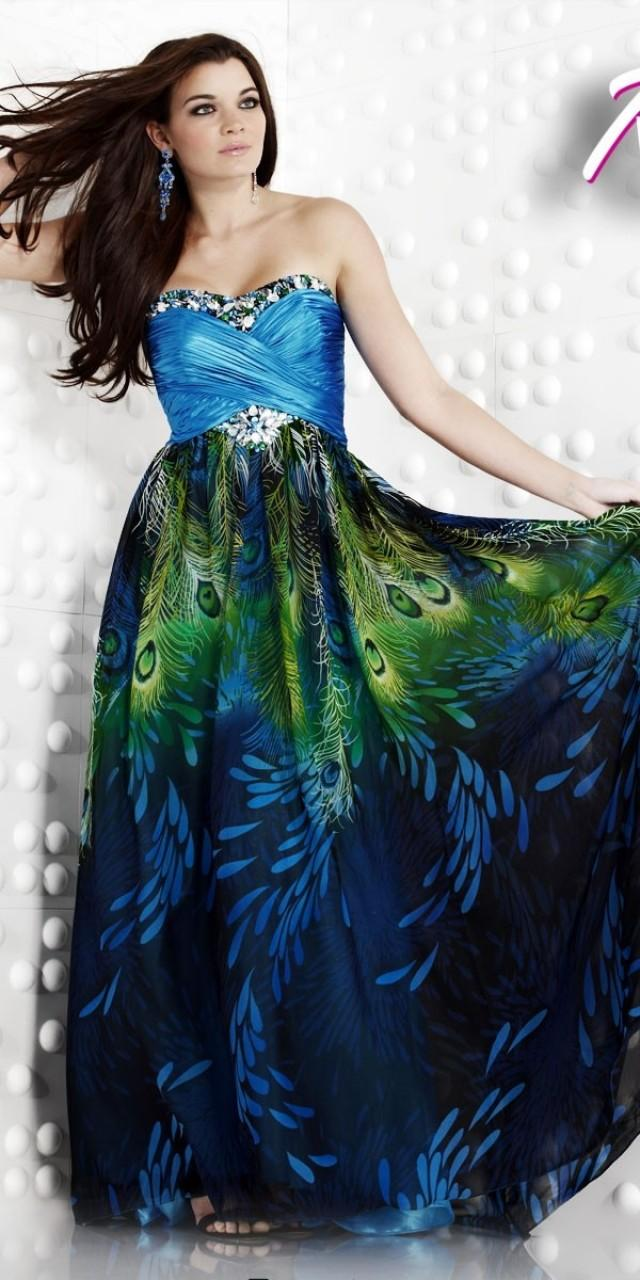Peacock Print Ball Gown Bridesmaid Dress Prom Dress