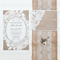 Burlap And Lace Wedding Invitations, Budget Invitation ...