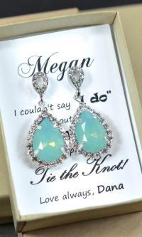 Mint Bridesmaid Earrings,Mint Green Earrings,Mint Necklace ...