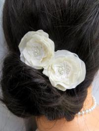Ivory, Cream Wedding Bridal Flower Hair Clips (set Of 2