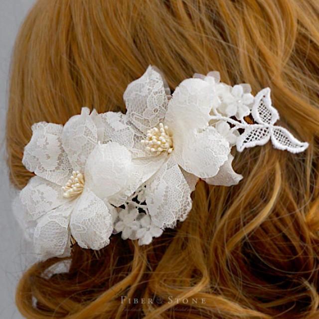 Pure Silk Bridal Headpiece, Lace Wedding Headpiece, Bridal