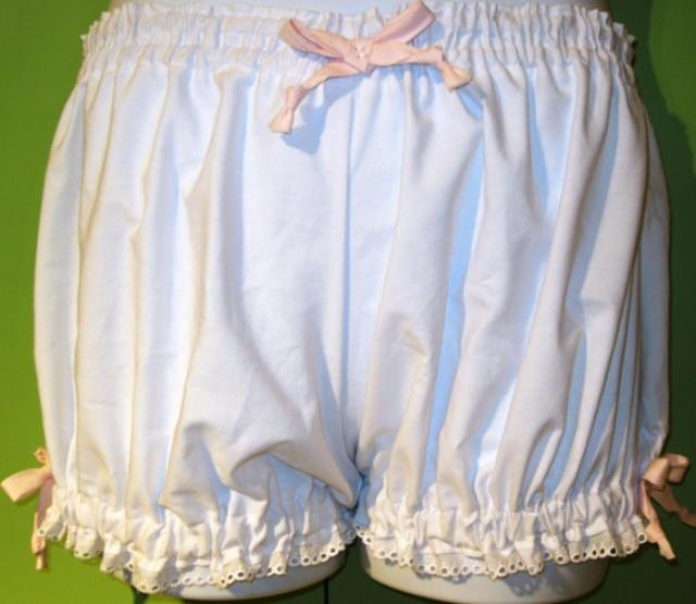 ALL SIZES Womens White Cotton Bloomers Costume Pajamasshorts Bottoms Trimmed In Pink Ribbons