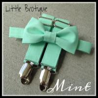 Mint Bow Tie And Suspender Set For Babies, Toddlers, Boys ...