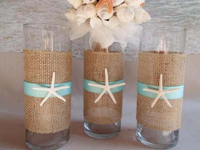 Set Of 3 Starfish Amp Burlap Beach Vase Centerpieces