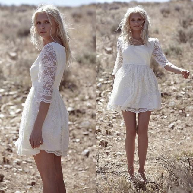 Amzing Bohemian Lace Scoop Short Wedding Dresses 2016