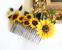 Sunflower Hair Comb, Sunflower Wedding, Large Sunflower ...