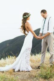 bohemian wedding dress with side
