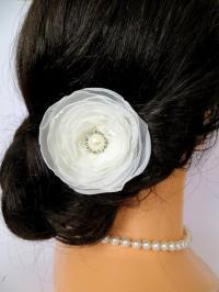 Ivory Bridal Hair Flower, Wedding Headpiece, Wedding Hair ...