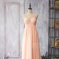 2015 Blush Chiffon Bridesmaid Dress, Peach Wedding Dress ...
