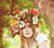 spring oversized floral crown fabric