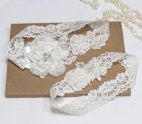 Ivory Lace Wedding Garter Set, Wedding Garter Set, Bridal ...