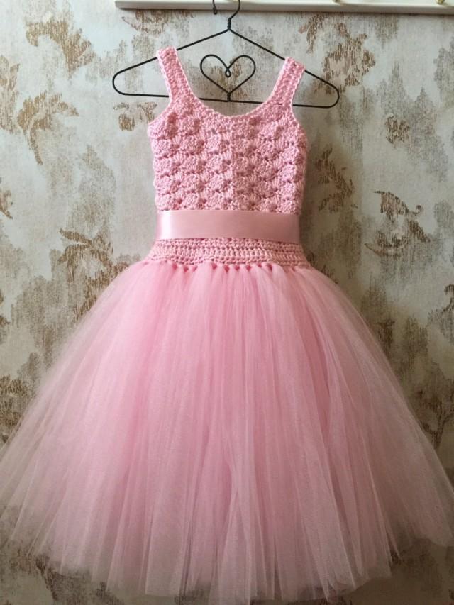Pink Flower Girl Tutu Dress Birthday Tutu Dress Crochet