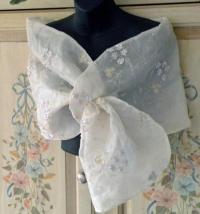 Embroidered Silk Organza Shrug/Wrap/Shawl...Hands Free ...