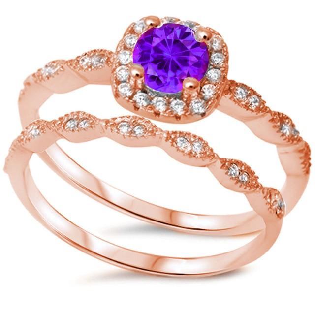 Ring Rose Wedding Vintage Sets Gold Amethestist