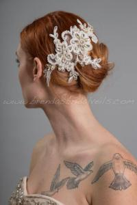 Ivory Lace Bridal Hair Piece, Pearl And Lace Wedding Hair