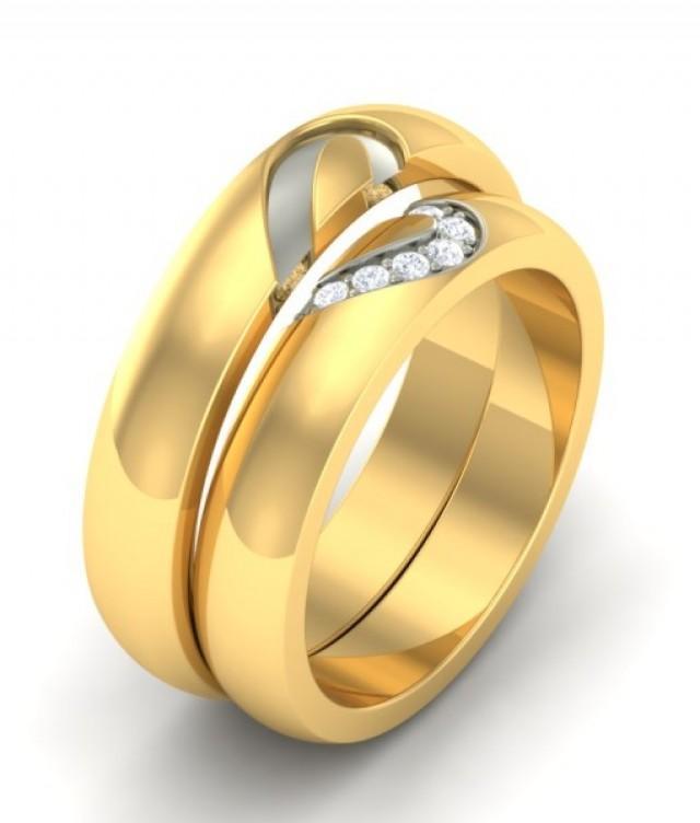 The Abia Heart Wedding Couple Bands Diamond Rings 2416371