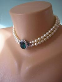 EMERALD Necklace, Pearl Choker, Emerald And Pearl, Great