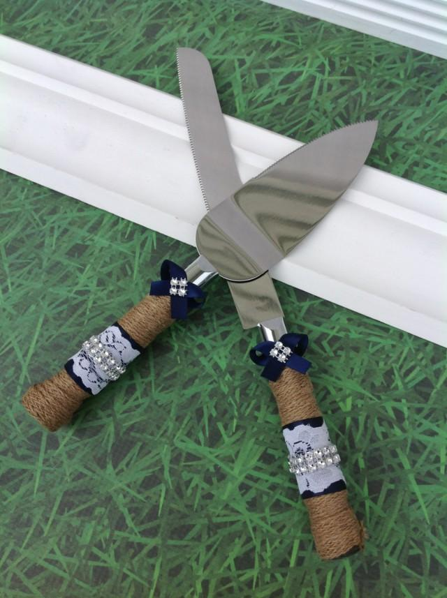 NAVY / Wedding Cake Knife Set / Burlap Knife Set / Cake