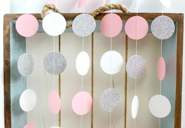 Silver Glitter White Pink 10 Ft Circle Paper Garland