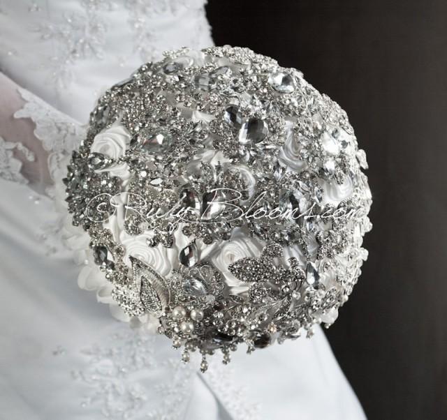 Crystal Silver White Wedding Brooch Bouquet Twin Souls