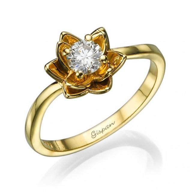 Flower Engagement Ring Yellow Gold With Diamonds,Unique