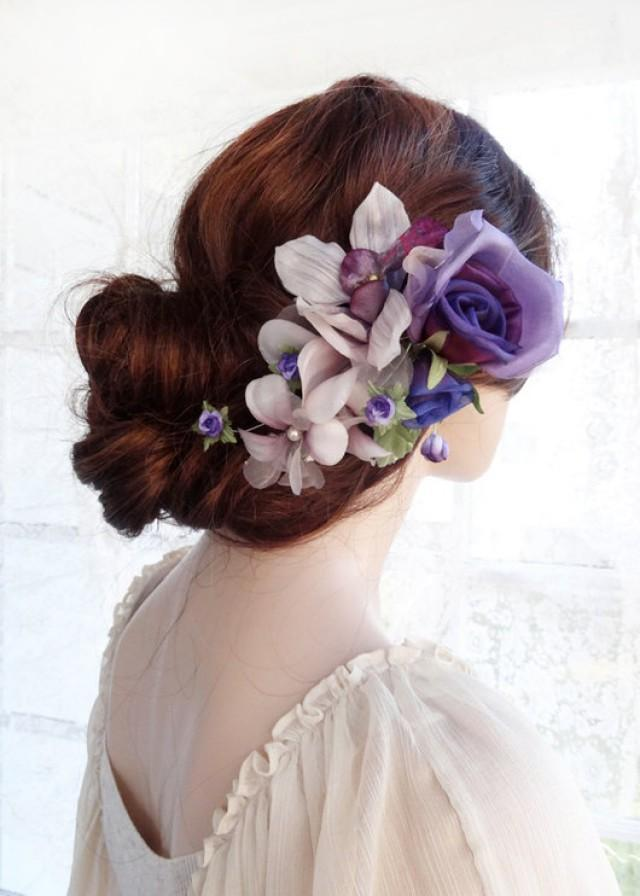 Bridal Headpiece Purple Hair Flower Luxury Bridal Hair